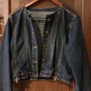 Dark Wash Distressed Short Denim Jacket
